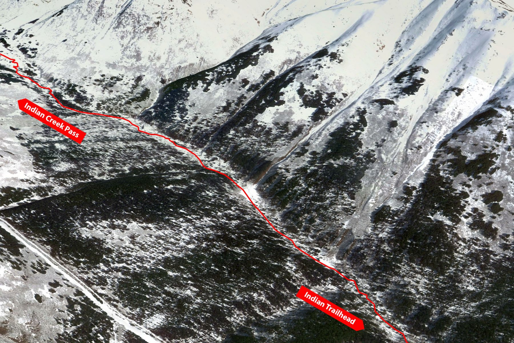 Avalanche paths across the Indian Valley Trail