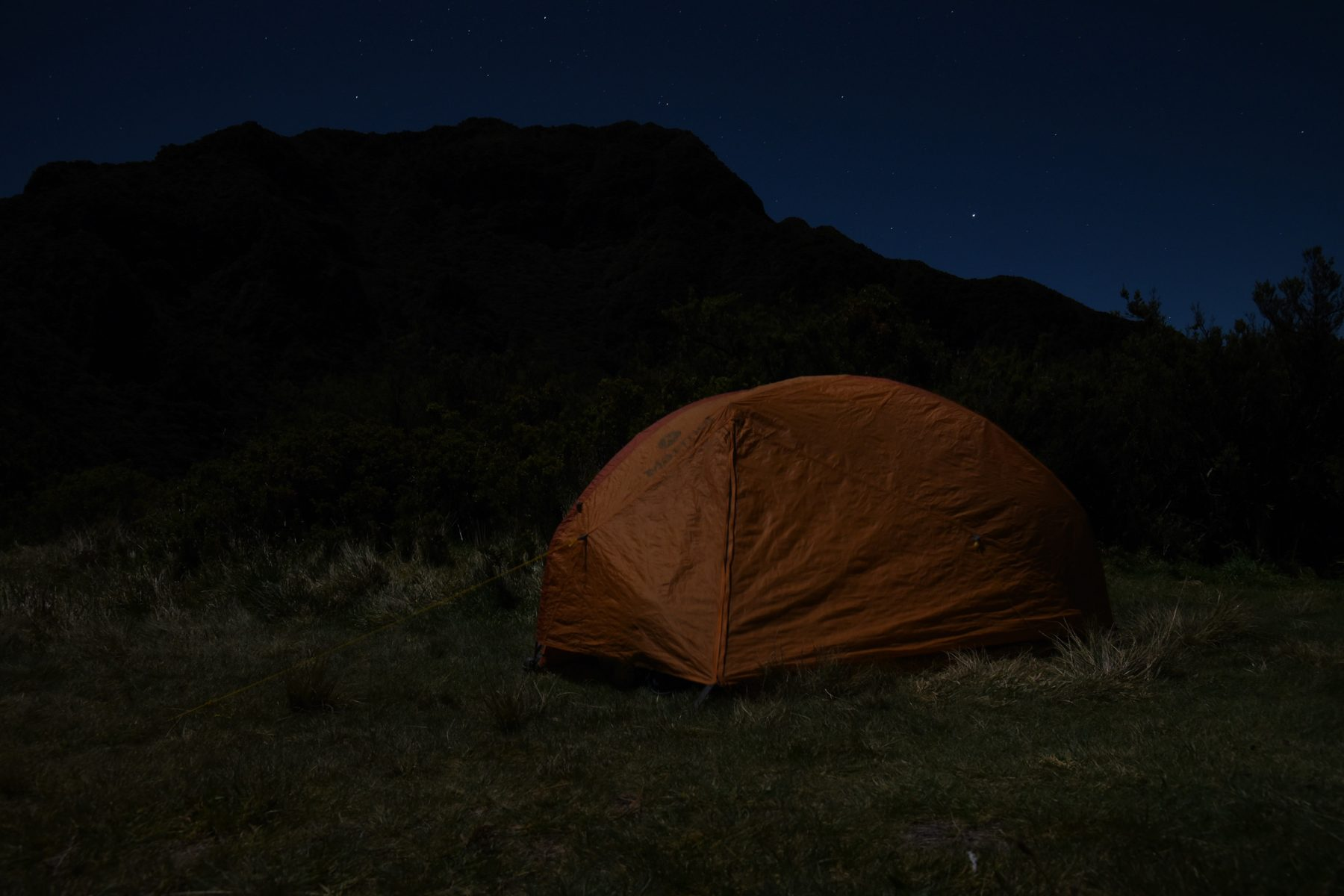 Camping under a full moon at Palikū