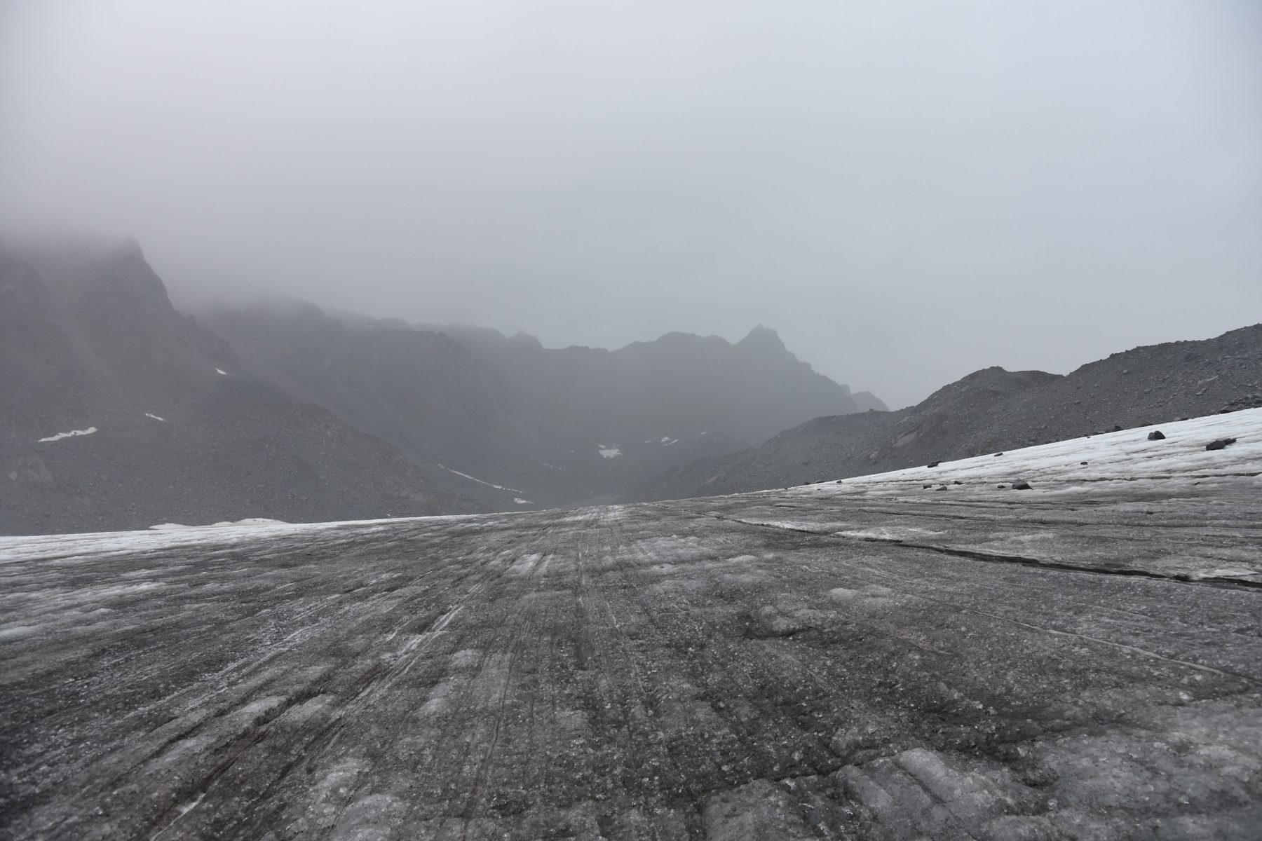 Walking across the surface of Snowbird Glacier