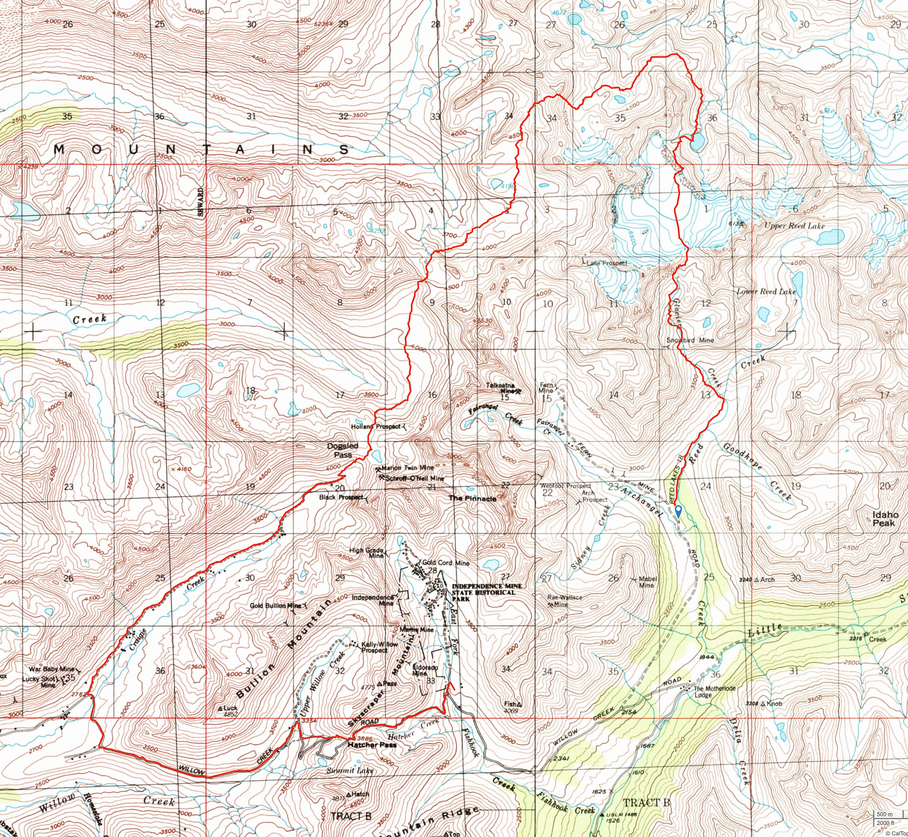 Blackbird Traverse route map