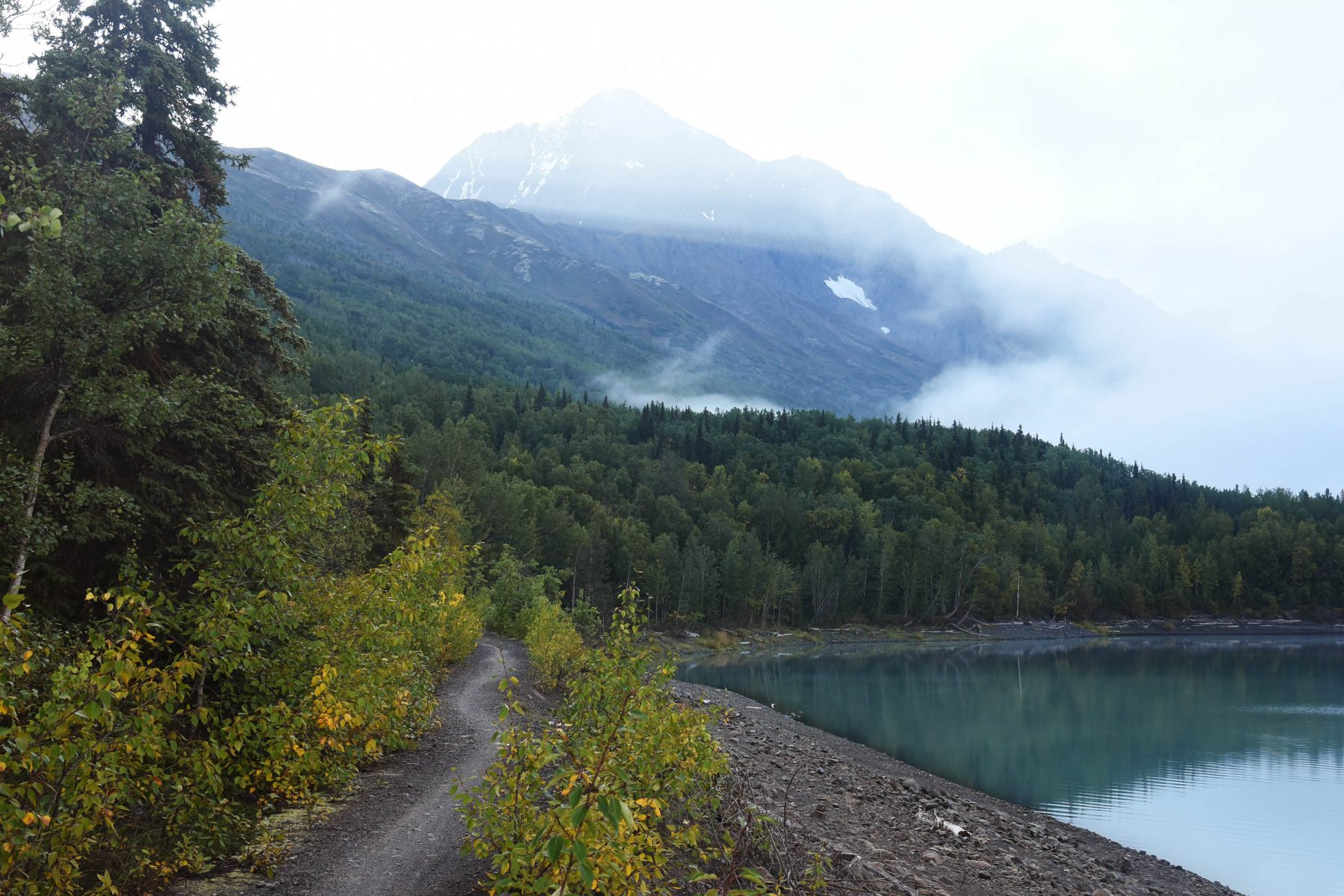 The bike path around Eklutna Lake