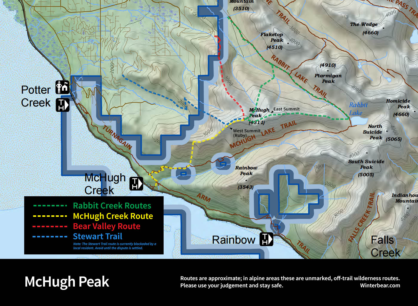 McHugh Peak hiking map