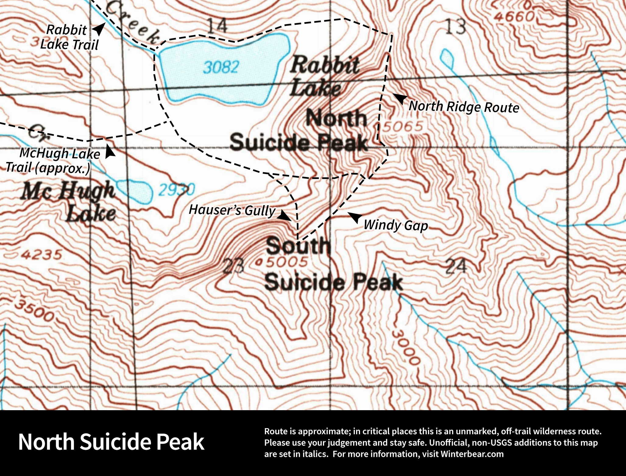 Map of routes up North Suicide Peak