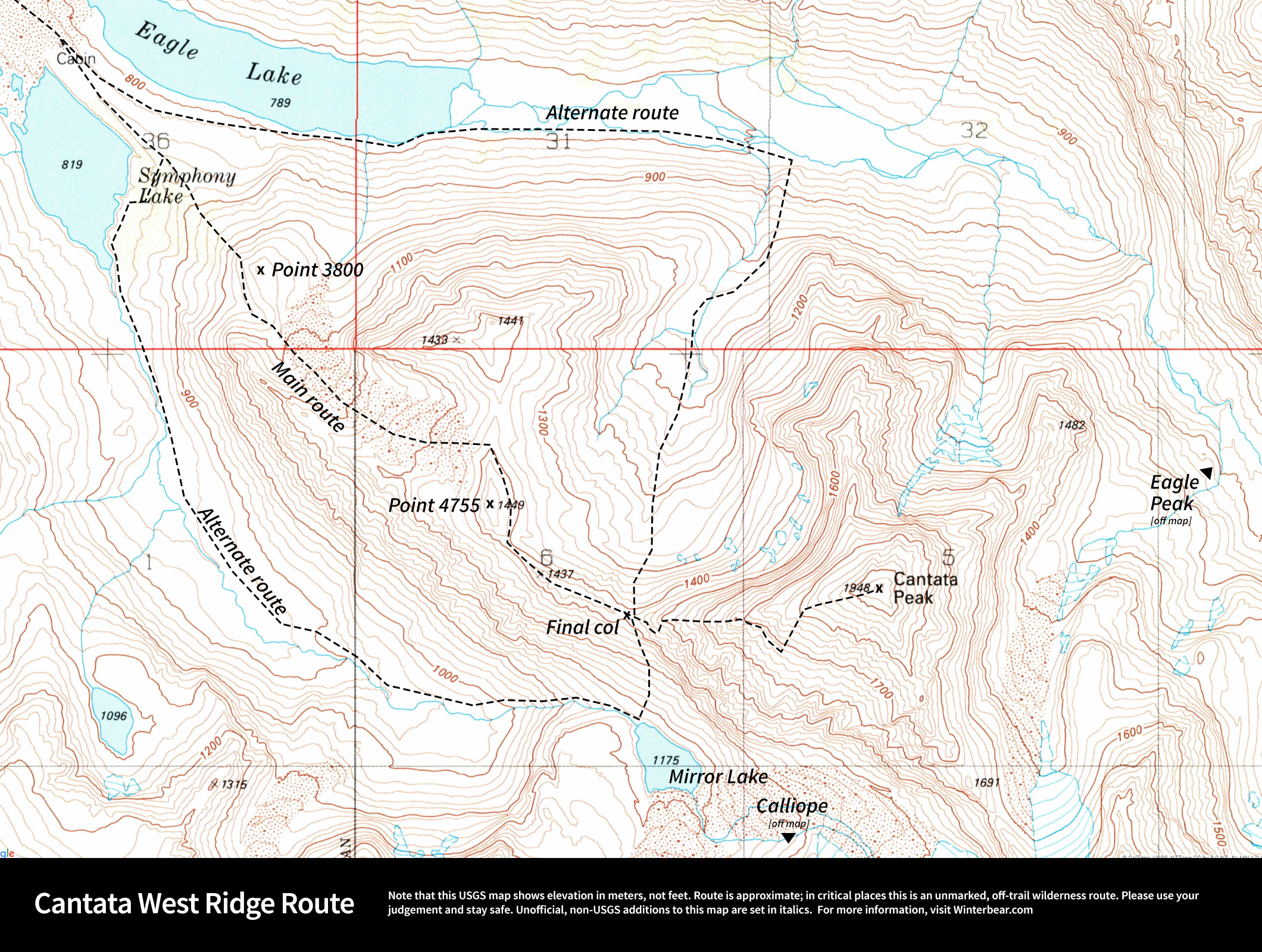 Annotated USGS map of the west ridge route up Cantata