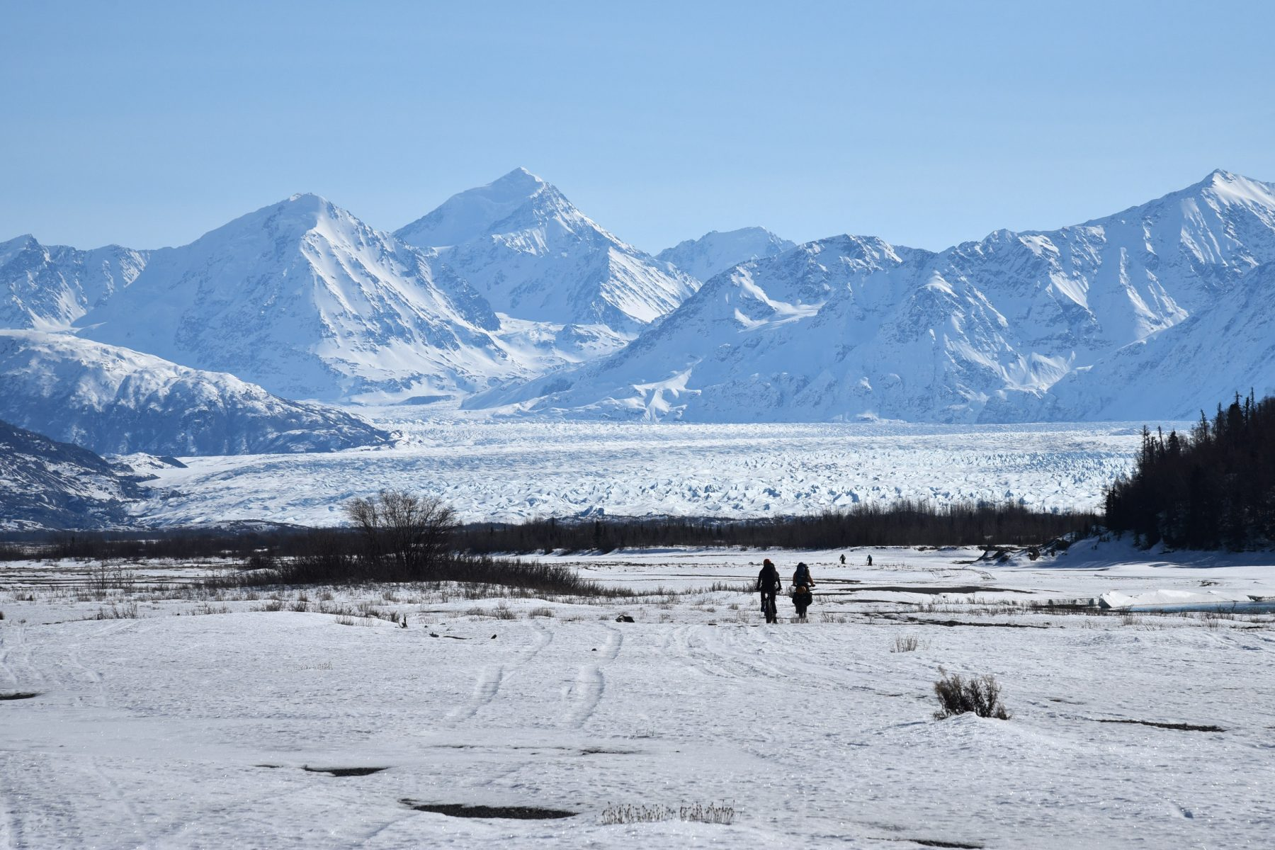 Biking toward Knik Glacier