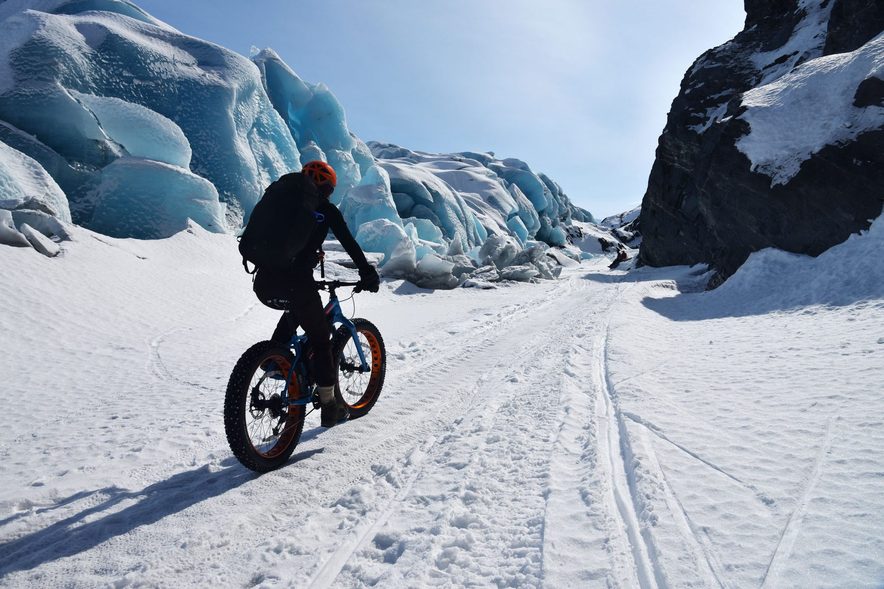 Fatbiking into the Knik Glacier Gorge