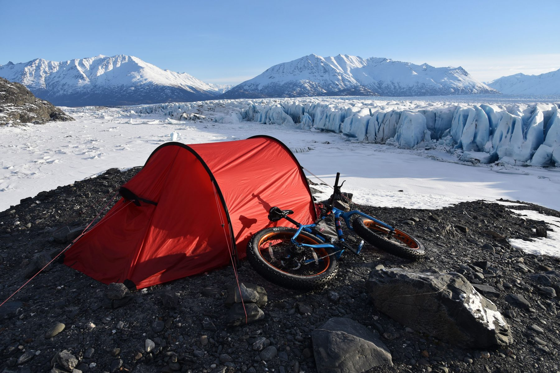 Campsite at Knik Glacier with Salsa fatbike
