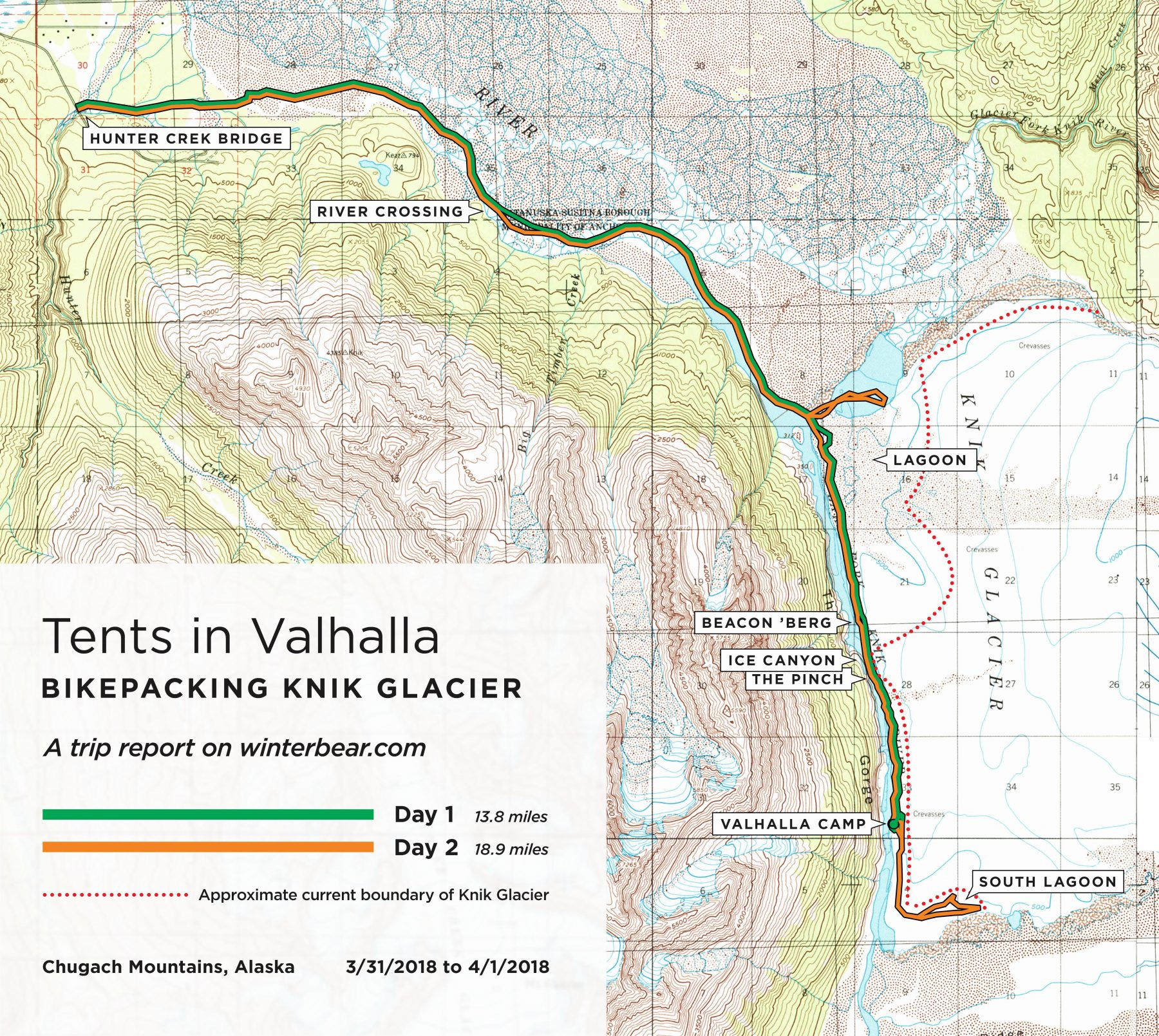 Map of our Tents in Valhalla route at Knik Glacier