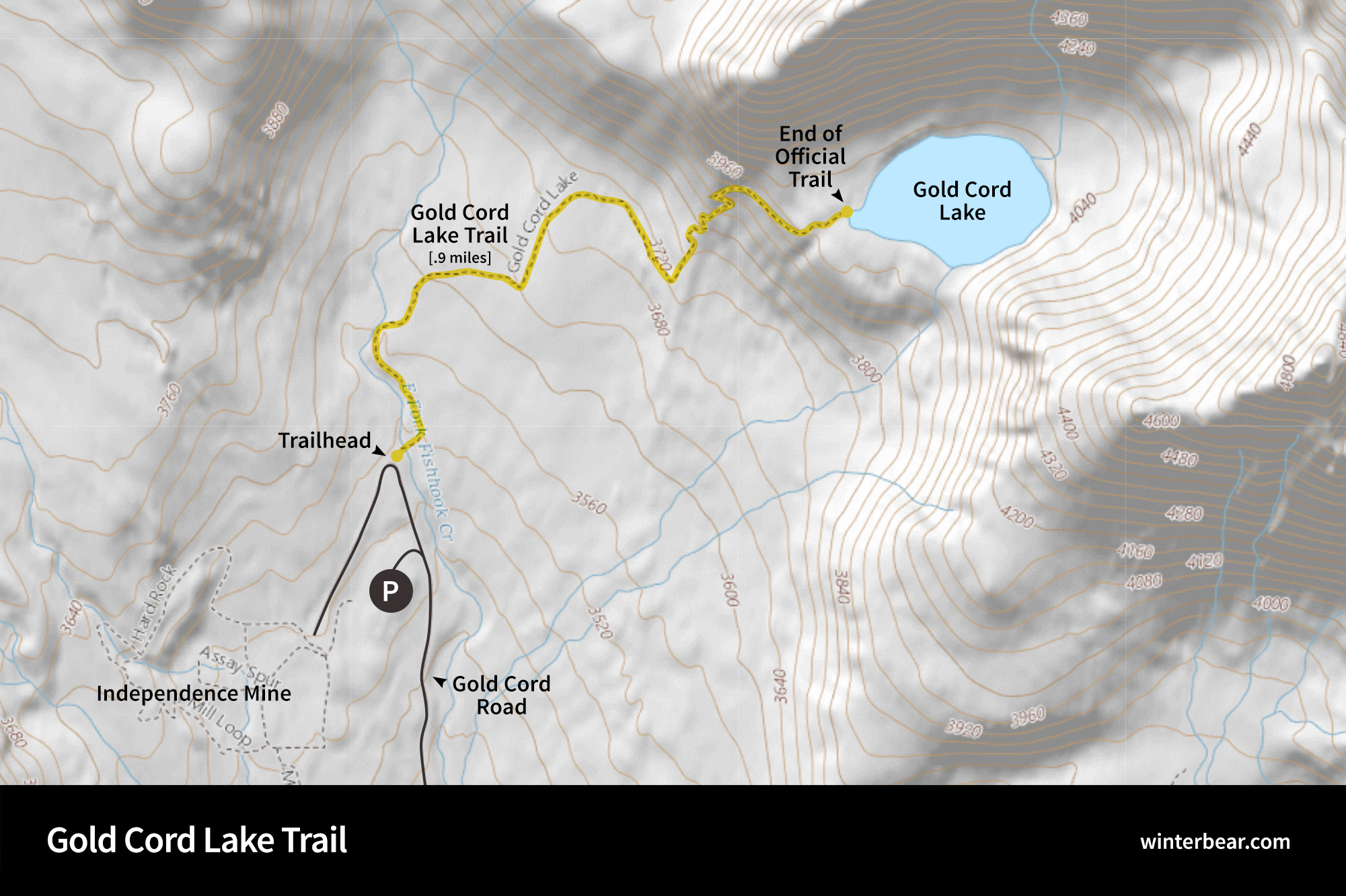 Map of the Gold Cord Lake Trail