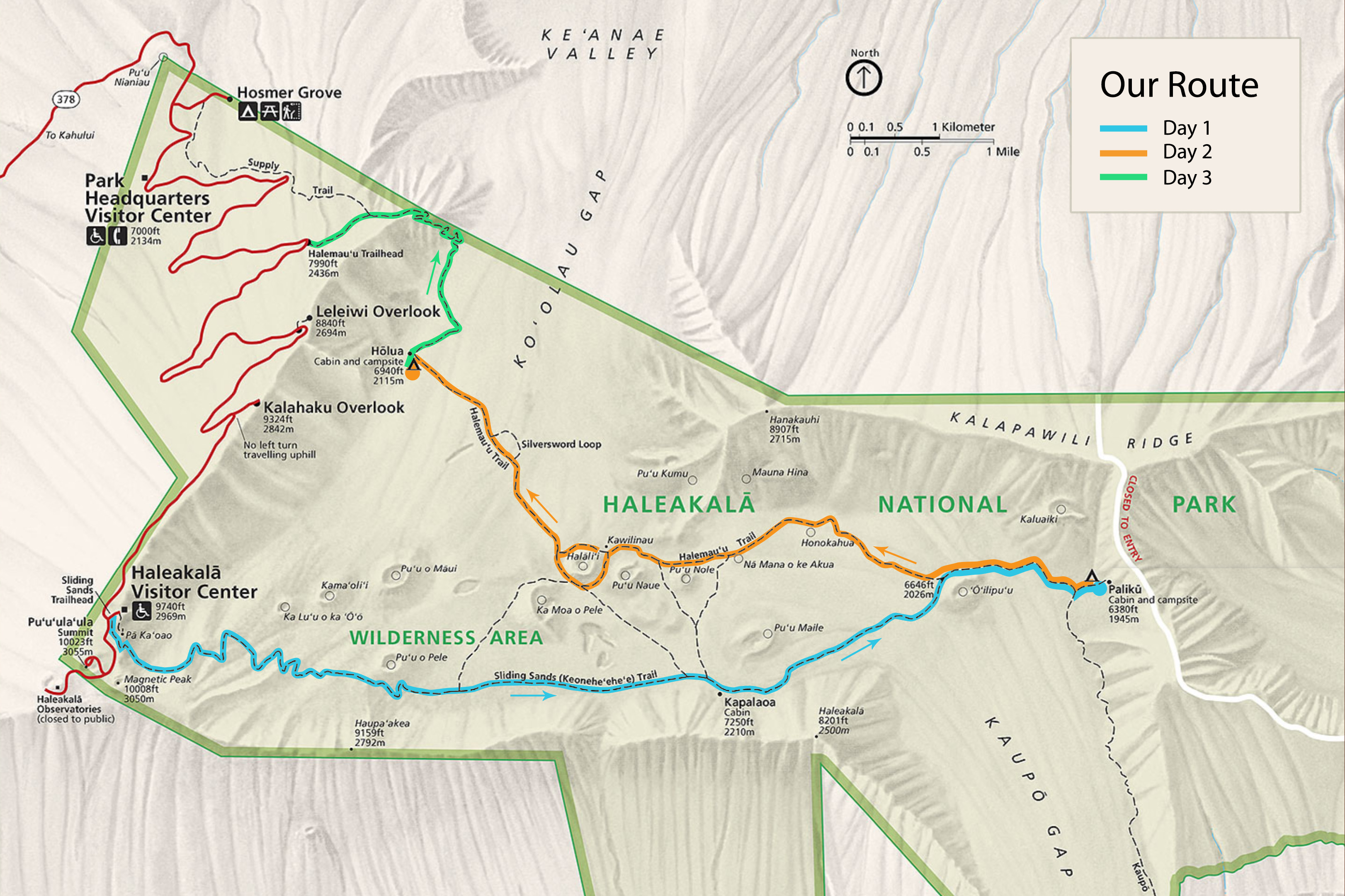 Backpacking route map in Haleakalā National Park