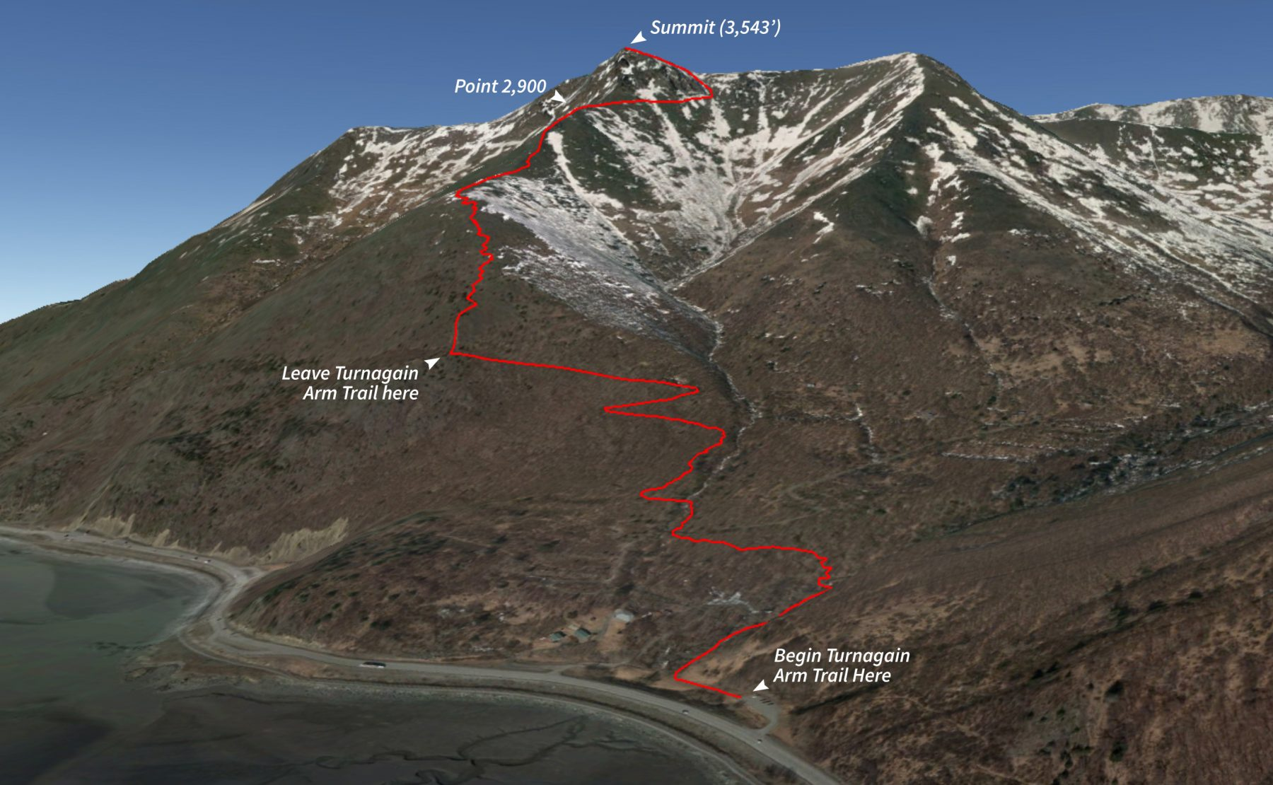 Route for hiking Rainbow Peak