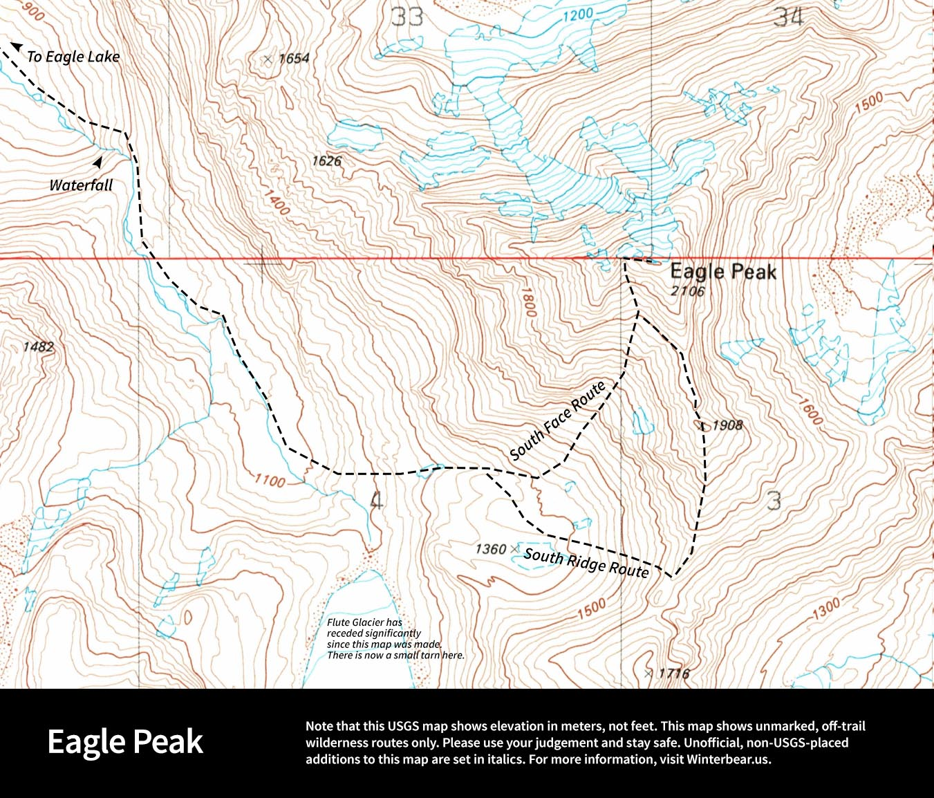 Map with routes to climb Eagle Peak