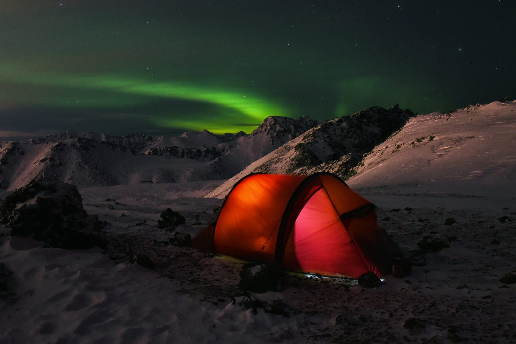 Northern lights over our tent on McHugh Peak