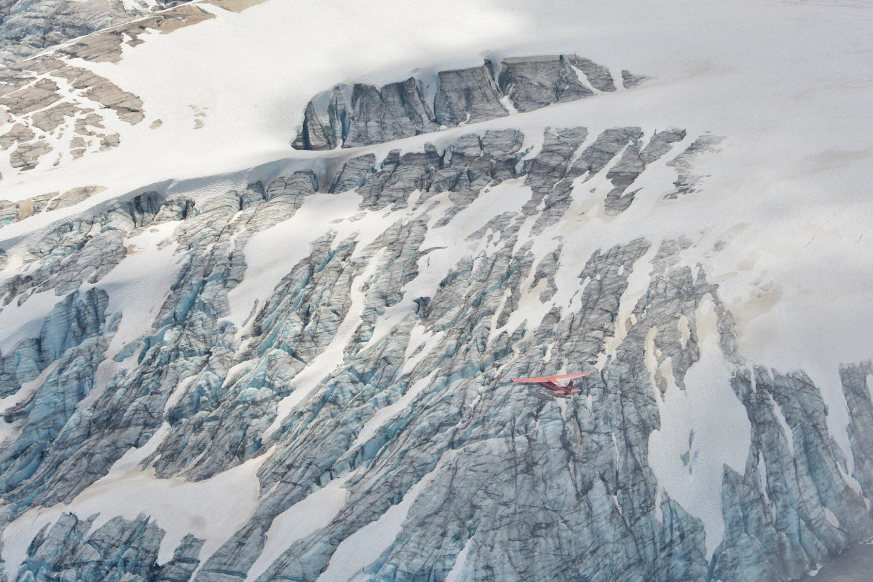 Organ Glacier and airplane from Eagle Peak