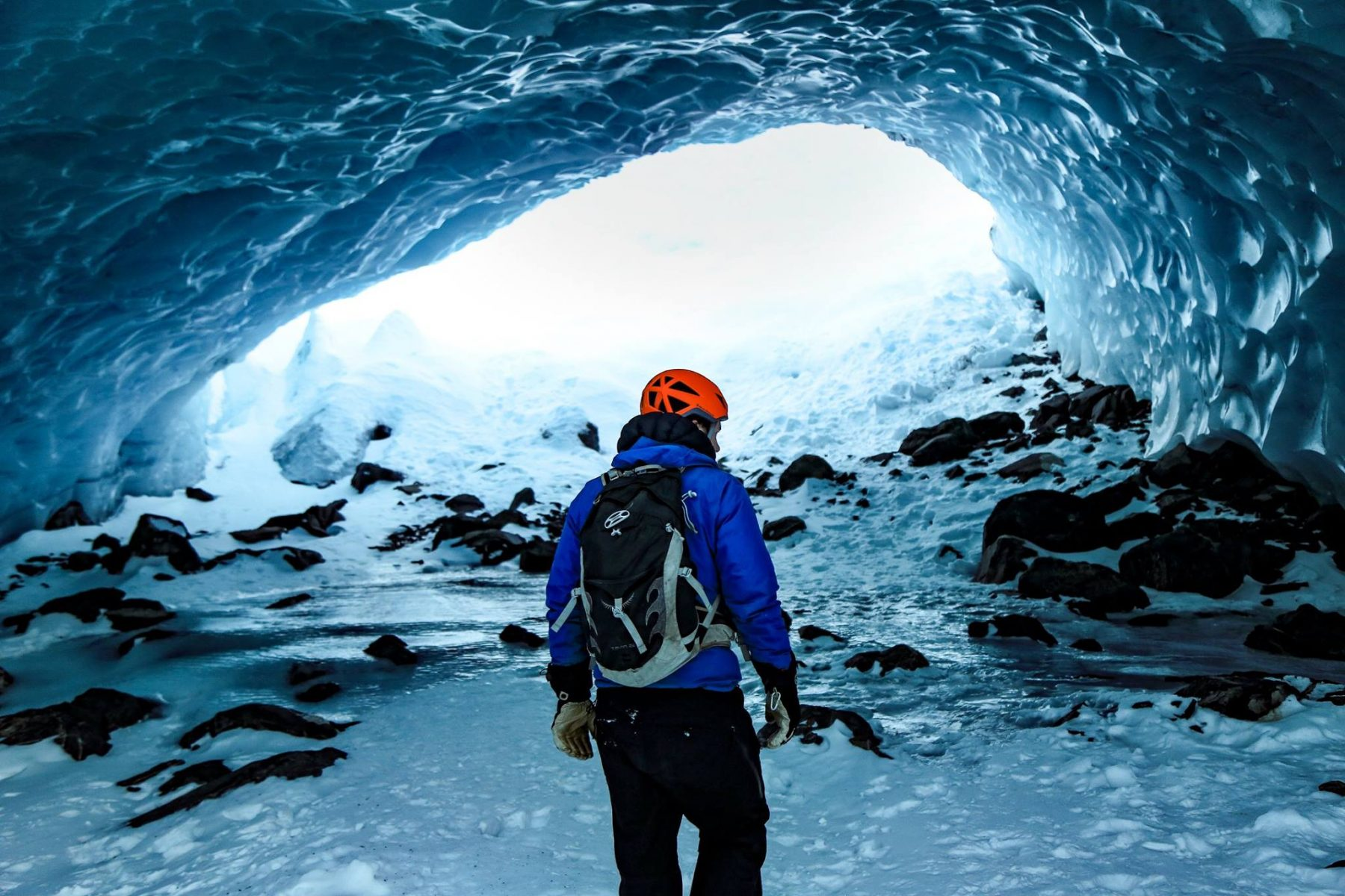 Osprey Talon 22 backpack in an ice cave