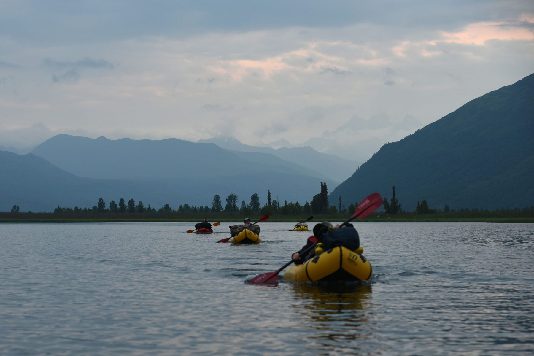 Packrafting on Home Lake, in Denali State Park