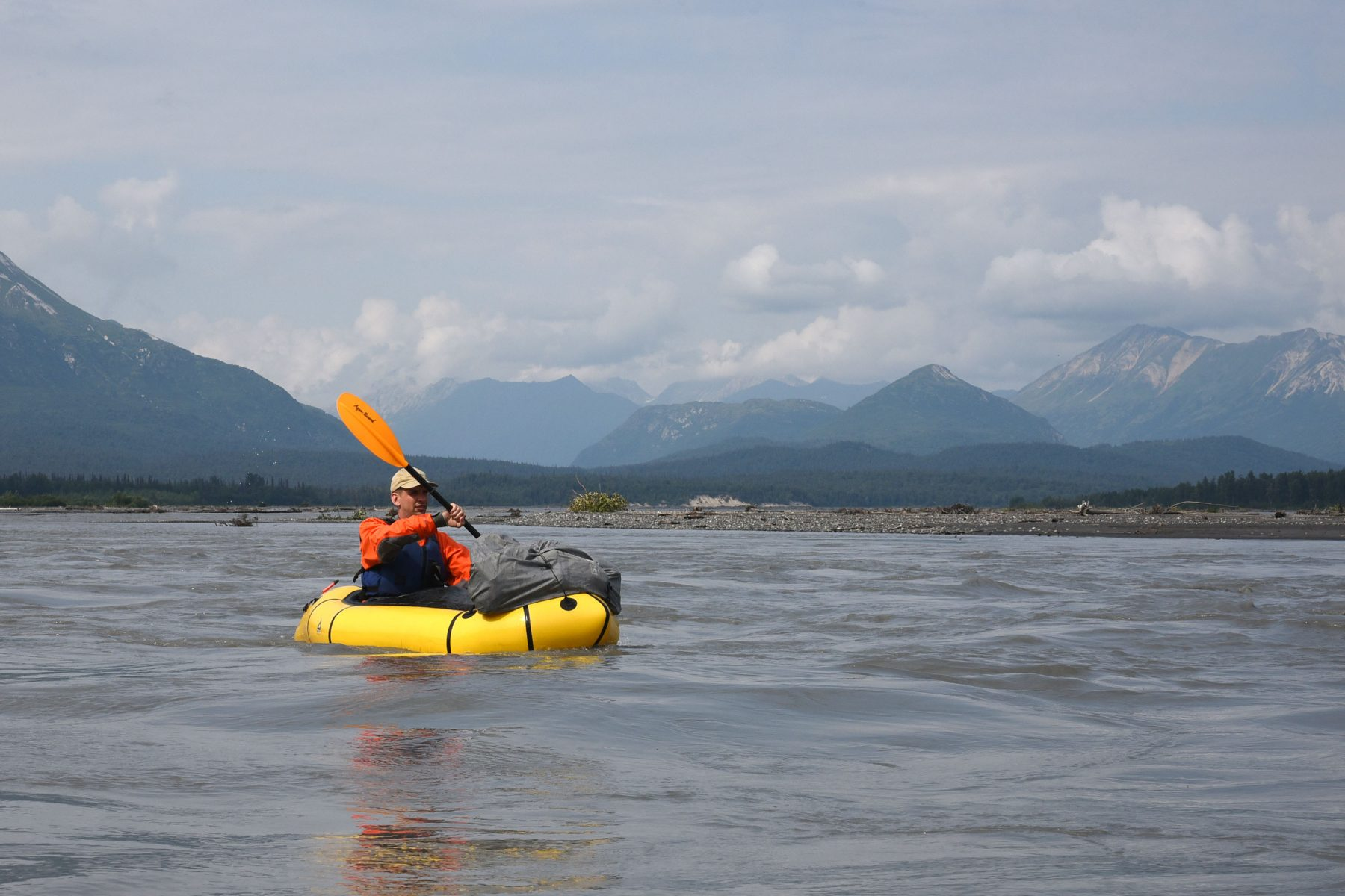 Tim Treuer packrafting the Chulitna River
