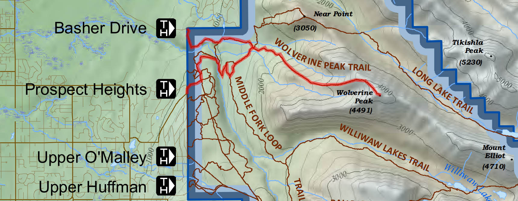 Hiking map for Wolverine Peak